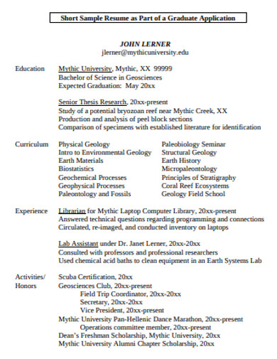 college application resume in pdf
