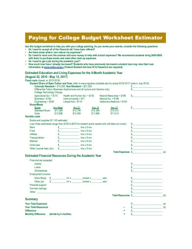 college budget worksheet estimator