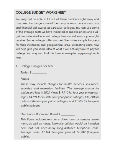 college budget worksheet example