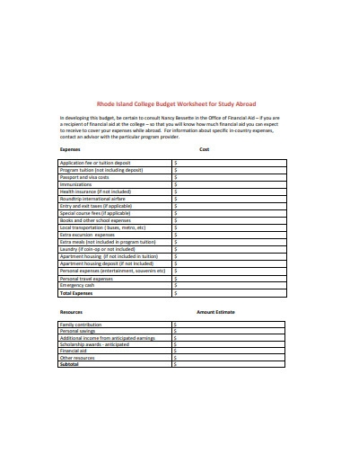college budget worksheet for study