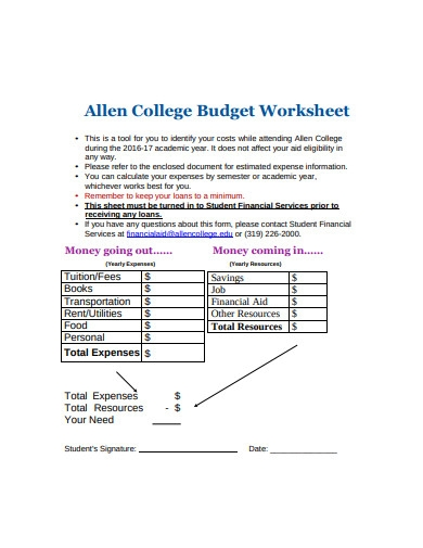 college budget worksheet in pdf
