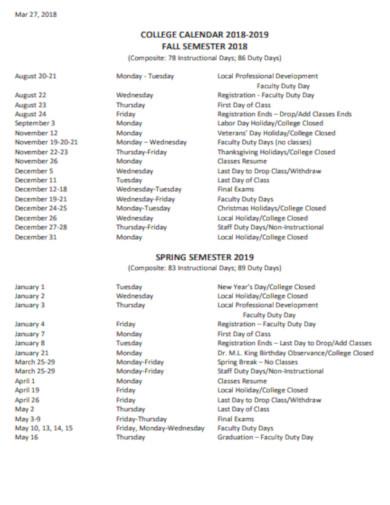 college calendar example
