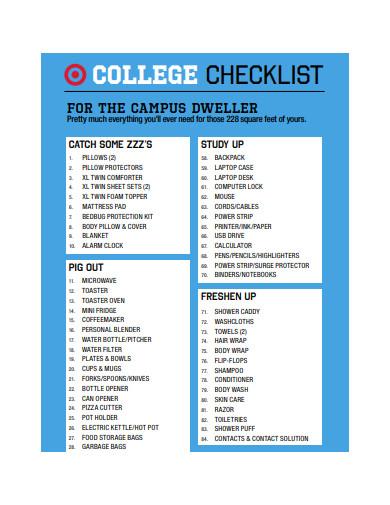 college checklist format
