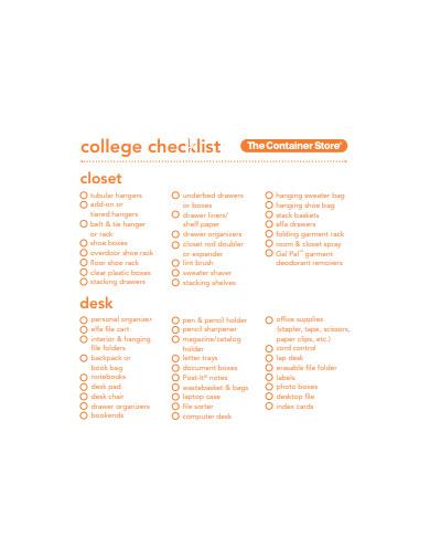 college checklist in pdf