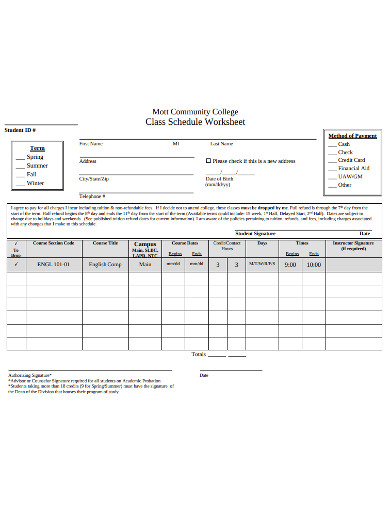 college class schedule worksheet