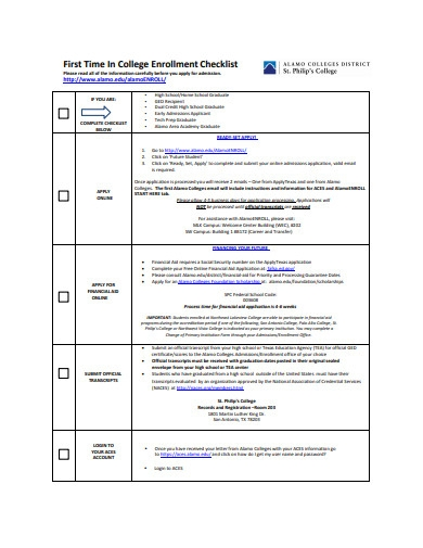 college enrollment checklist