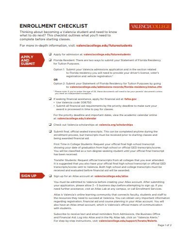college enrolment checklist example