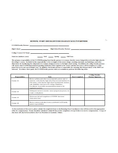college faculty checklist