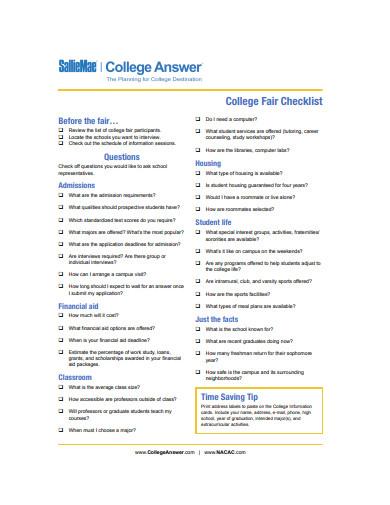 college fair checklist