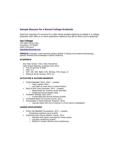 college graduate resume
