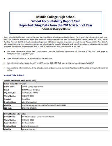 college high school report card