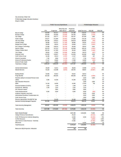 college operating budget sheet