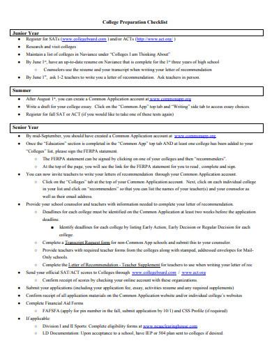 college preparation checklist