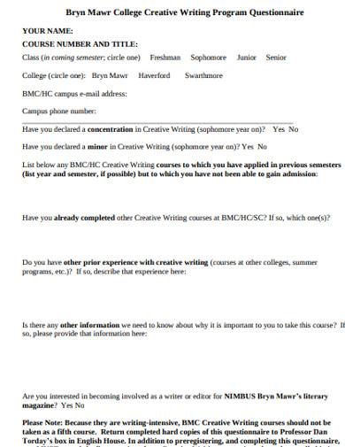 college programe questionnaire