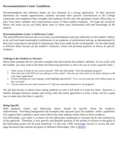 college recommendation letter guidelines in pdf