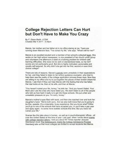 college rejection letter example