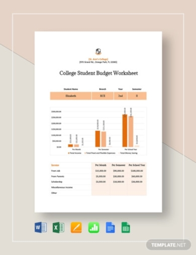 college student budget worksheet template2