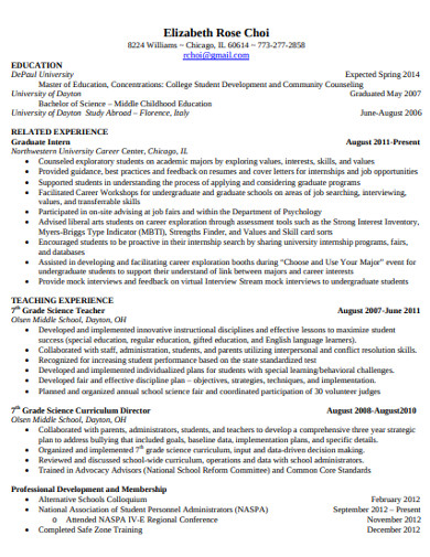 college student development resume
