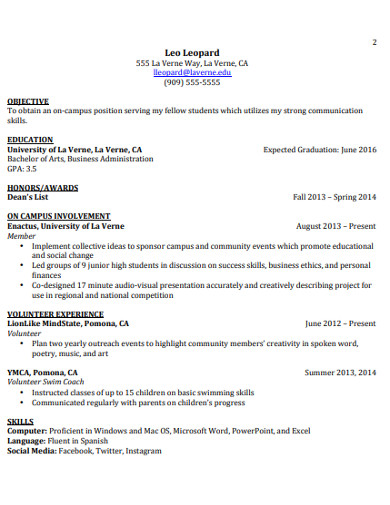college student resume format