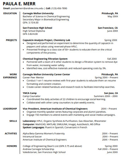 Free 16 College Student Resume Examples Templates Pdf Word Pages Photoshop Publisher Examples