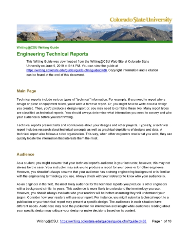 colorado engineering technical report