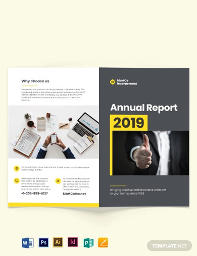 company annual report bi fold brochure template