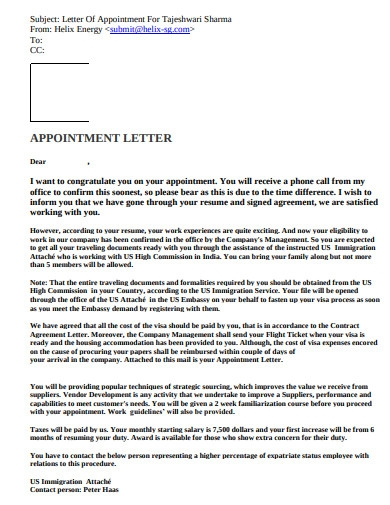 company appointment letter pdf