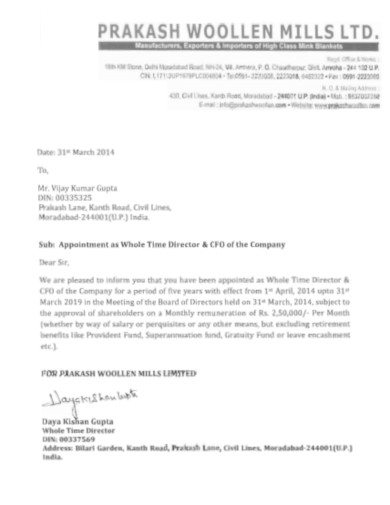 company appointment letter for director