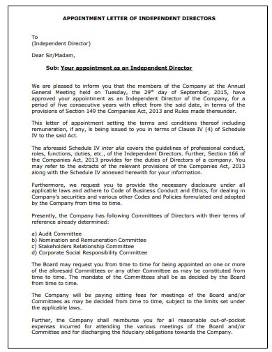 company appointment letter for independent director