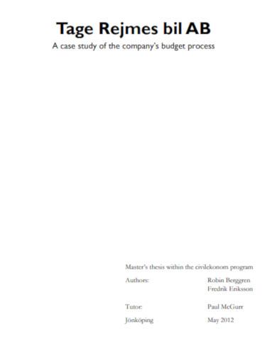 company budget process