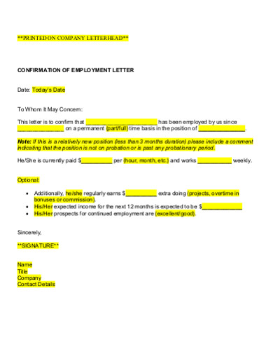 company employment confirmation letter
