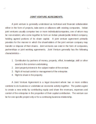 company joint venture agreements