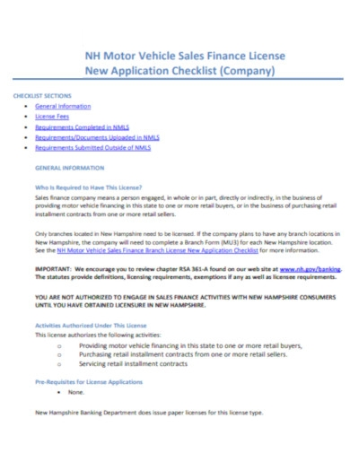 company new vehicle application checklist