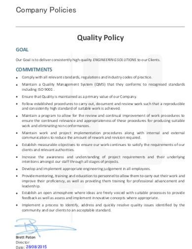 company quality policy sample