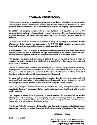company quality policy