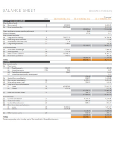 company sample balance sheet