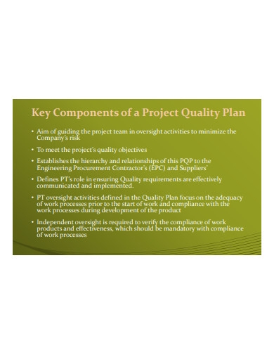 components of project quality plan
