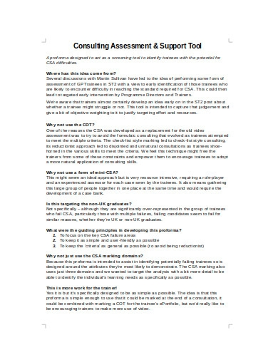 consulting assessment example in doc