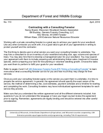 consulting forestry contract template