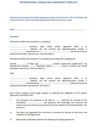 consulting international agreement template