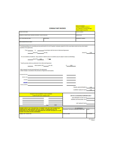consulting invoice template in example