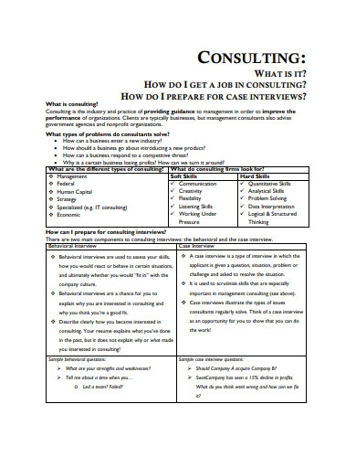consulting resume book