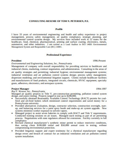 consulting resume format