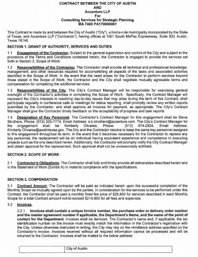 consulting strategic planning contract template