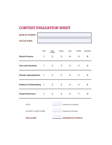 contest evaluation sheet example