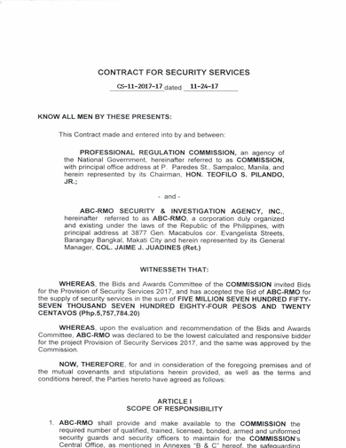contract for security guard services