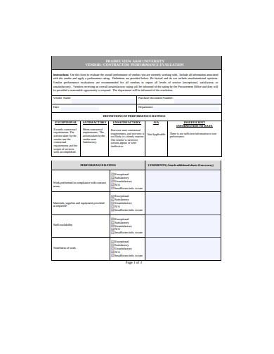 contract vendor performance evaluation template