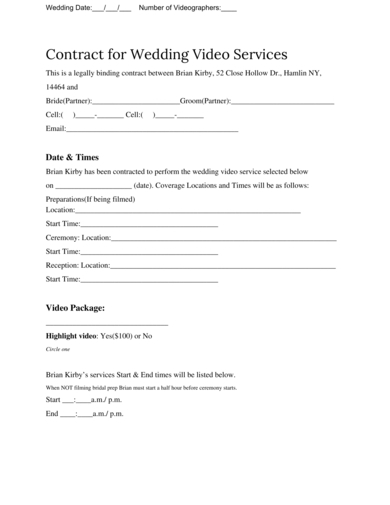 contract for wedding video services