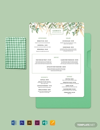 cool catering menu template