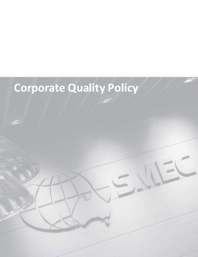corporate company quality policy